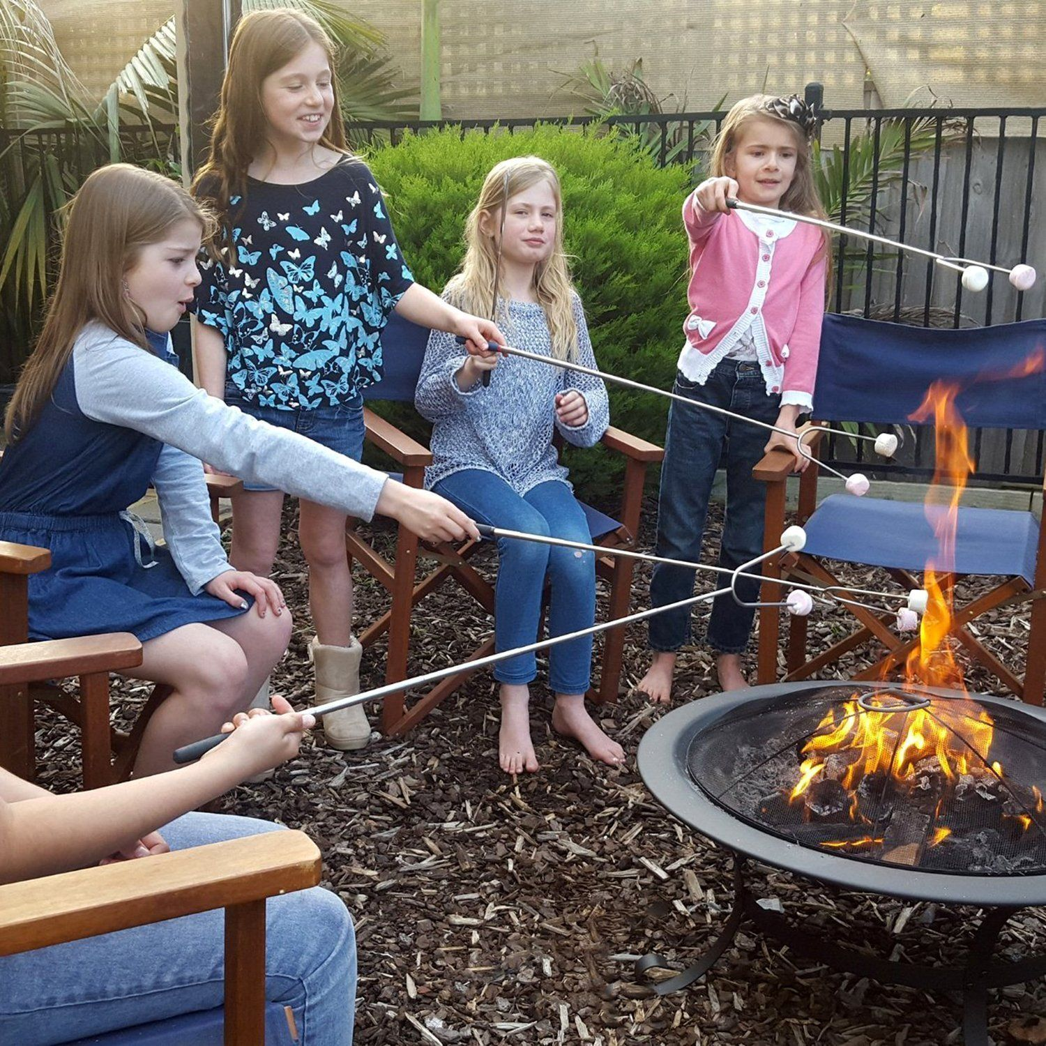 Amazon Marshmallow Roasting Sticks Telescoping Smores Skewers For BBQ Hot Dog Fork 32 Inch Patio Fire Pit Camping Cookware Campfire Cooking