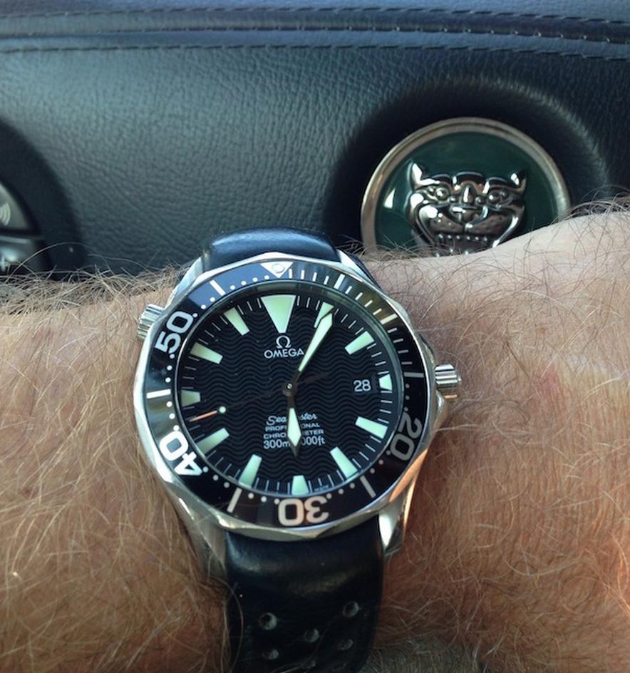 omega seamaster pro reference 225450 on leather strap