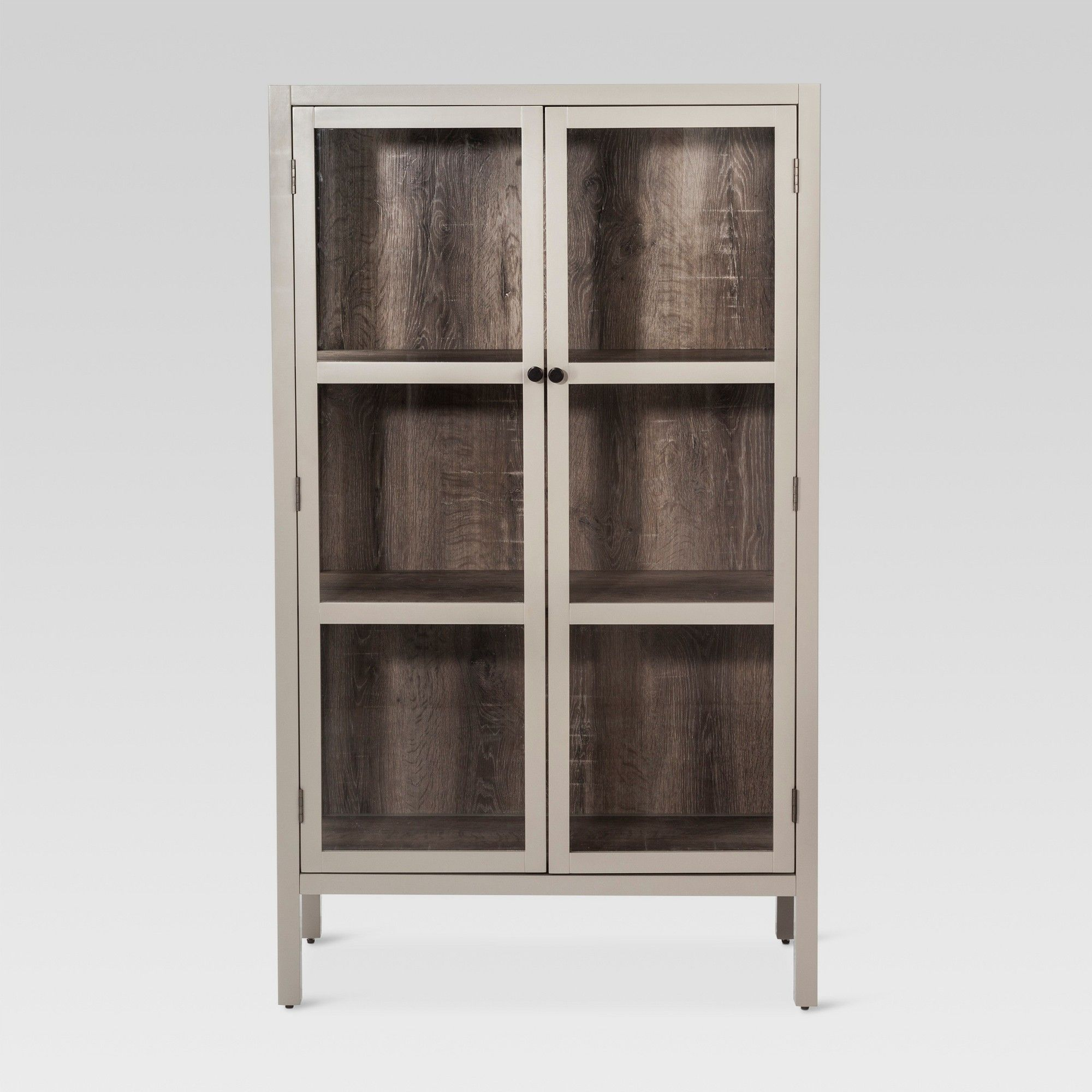 Hadley 56 2 Library Cabinet With Glass Gray Threshold
