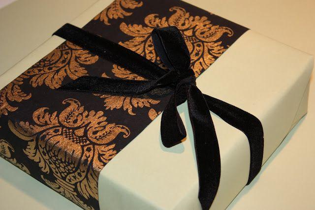 Patterned Paper Strips and Velvet Ribbon