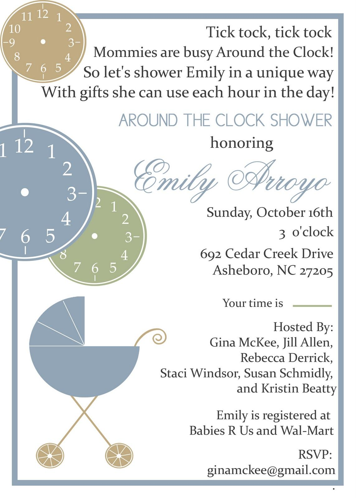 around the clock baby shower invitations | McKee Baby Babbles: Busy ...