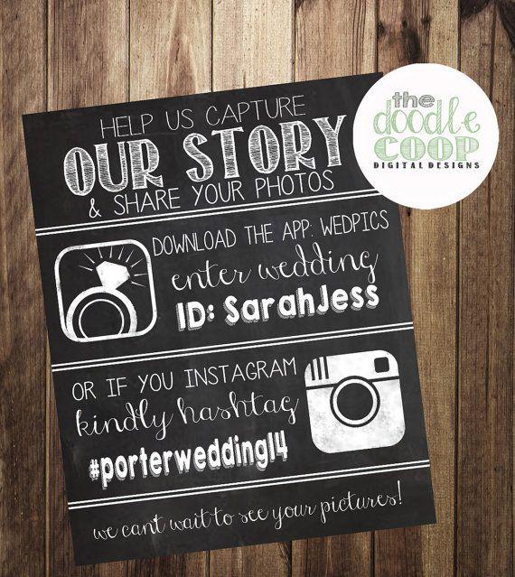 Wedpics And Instagram Hashtag Sign, Wedding Hashtag