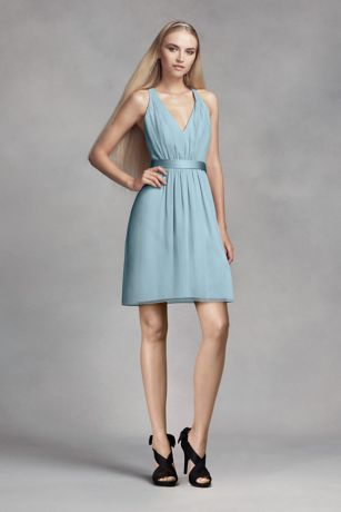 Short Chiffon Dress with Low Crisscross Back VW360339 | Maid of ...