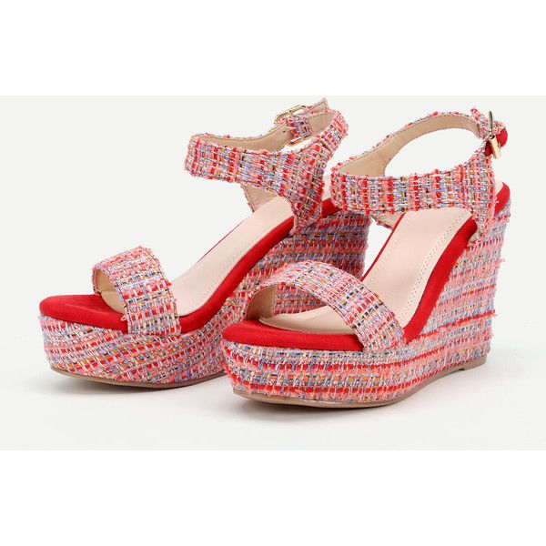 564b853c9659f SheIn(sheinside) Mixed Pattern Platform Wedge Sandals ( 37) ❤ liked on  Polyvore