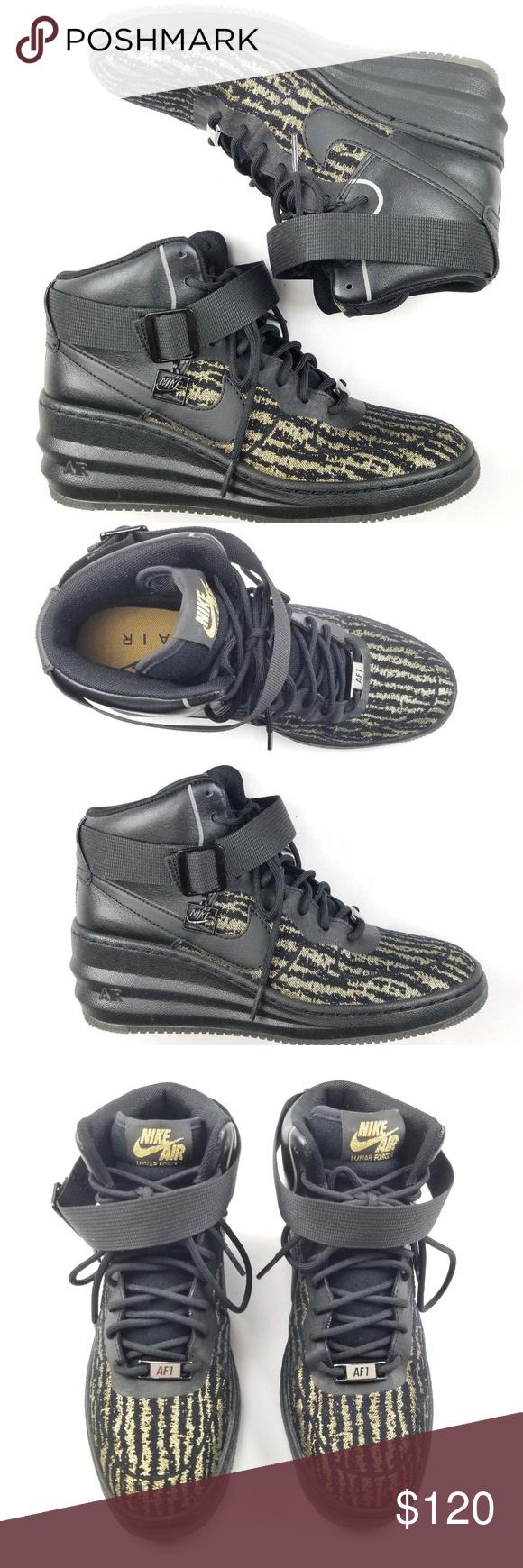 Nike Lunar Force 1 Sky Hi Jacquard Womens Wedge Nike Lunar Force 1 Sky Hi  Jacquard Wedge Shoes Black Metallic Gold Wedge Height - Approx 2.25