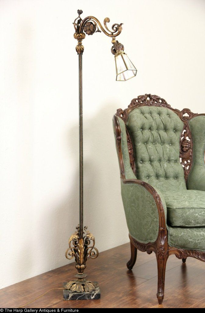 Wrought Iron 1920 S Antique Bridge Reading Floor Lamp Marble Base Small Lamp Shades Antique Floor Lamps Wall Lamp Shades
