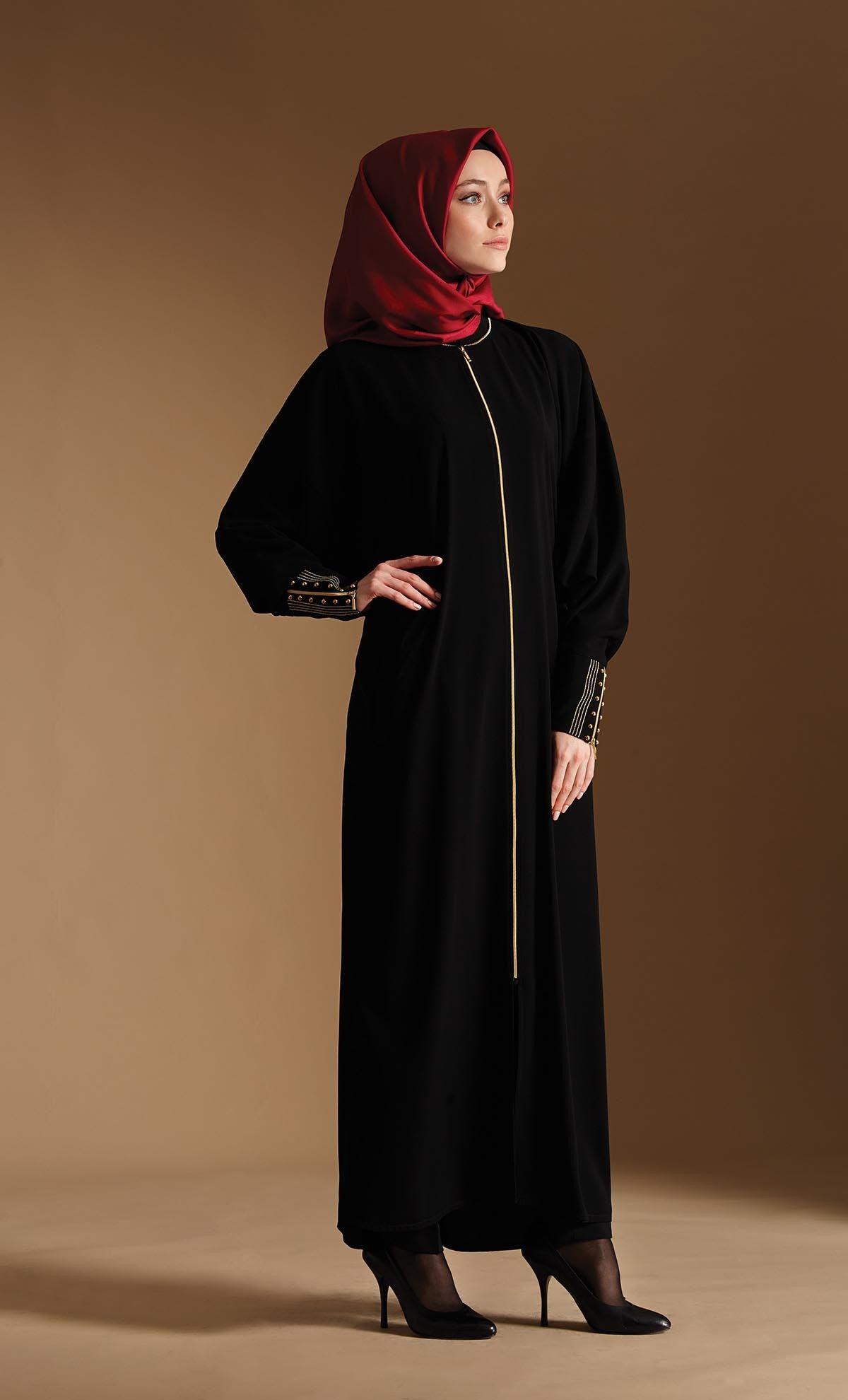 عباية سحاب مع أكمام مطرزة Astrapia Fashion Fashion Dresses Nun Dress