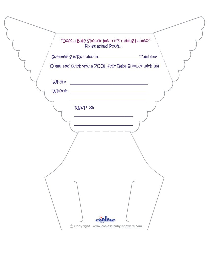 Printable pooh diaper invitations coolest free for Diaper cut out template