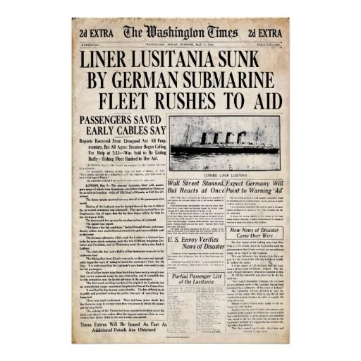 Vintage Lusitania Sinking Newspaper Headline Poster Newspaper - newspaper headline template