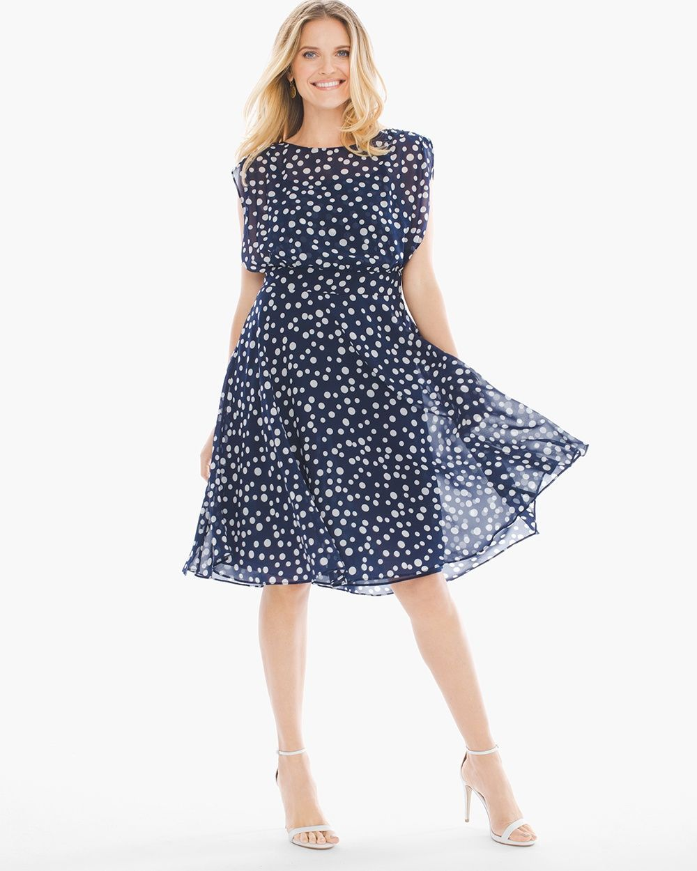 470789f5f54 Chico s Women s Polka Dot Fit-and-Flare Dress
