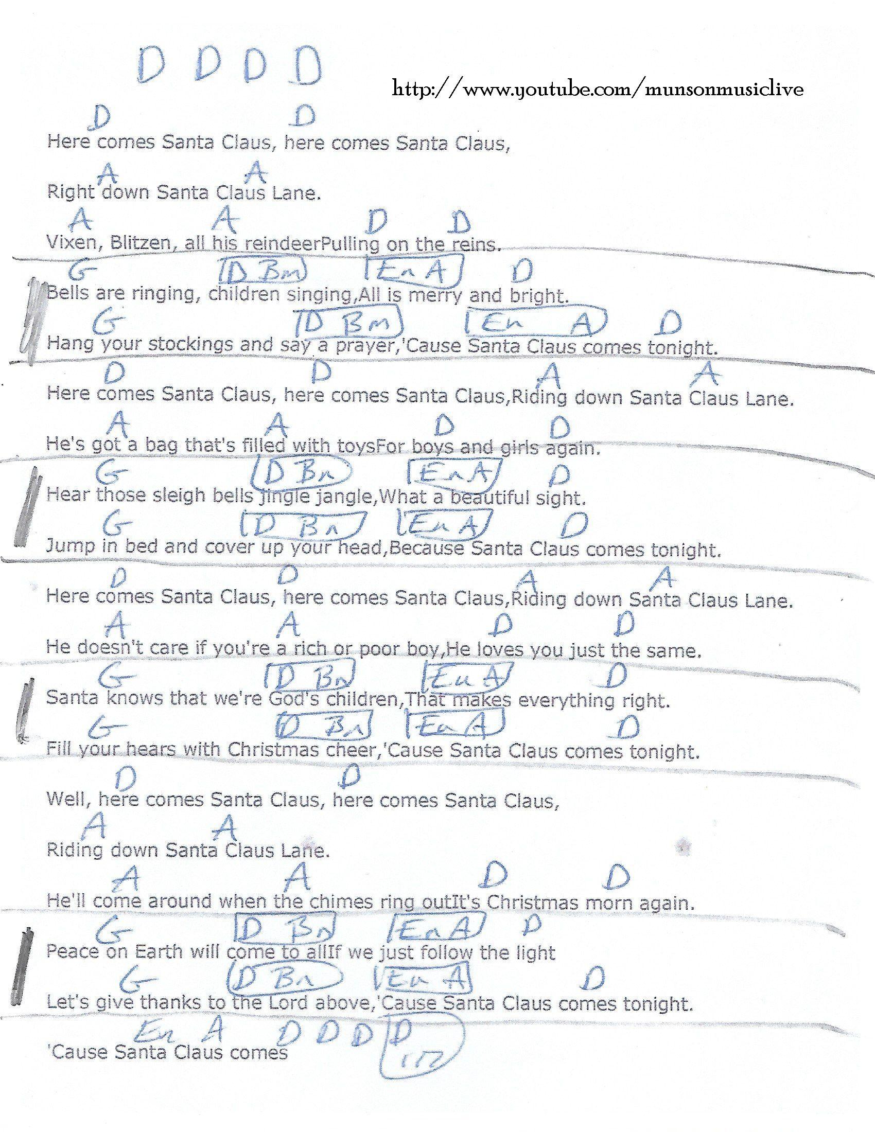 Here Comes Santa Claus - Guitar Chord Chart in D | Piano chords chart, Xmas music, Music guitar