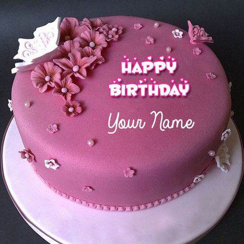 Beautiful Purple Flower Fondant Birthday Cake With Name Round Name Birthday Cake Name Wishes Generator On Fondant Cakes Birthday Cake Name Latest Birthday Cake