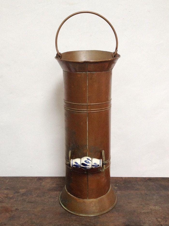 Vintage Copper Umbrella Stand Cane Holder And Brass Coal Scuttle Vijfkan