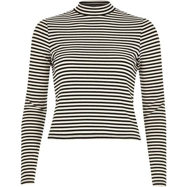 871b84c2e82e River Island Cream stripe long sleeve turtle neck ( 20) ❤ liked on Polyvore  featuring tops