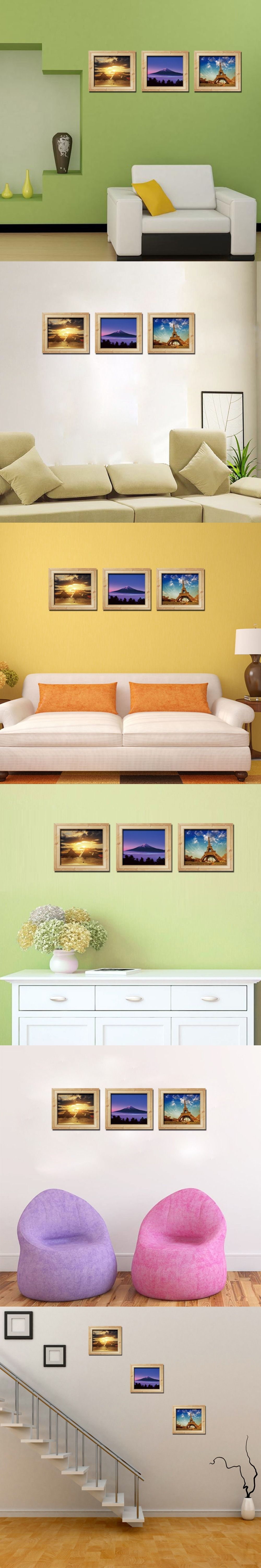 3D photo frame wall stickers landscape eiffel tower pyramid painting ...