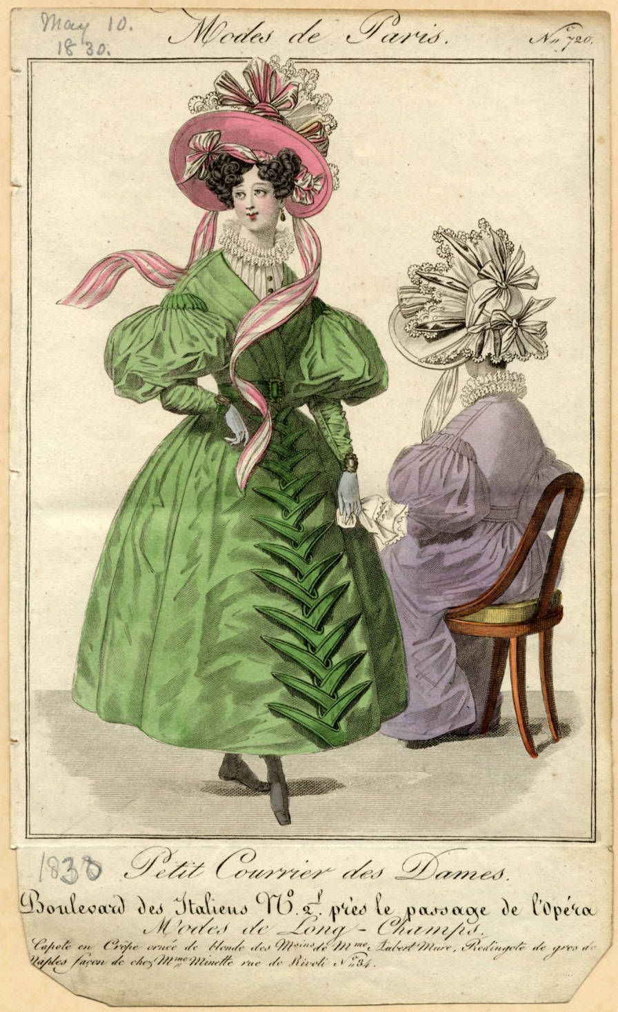 1830 Summer.  French Dresses, Green and purple with large hats with lace and ribbons
