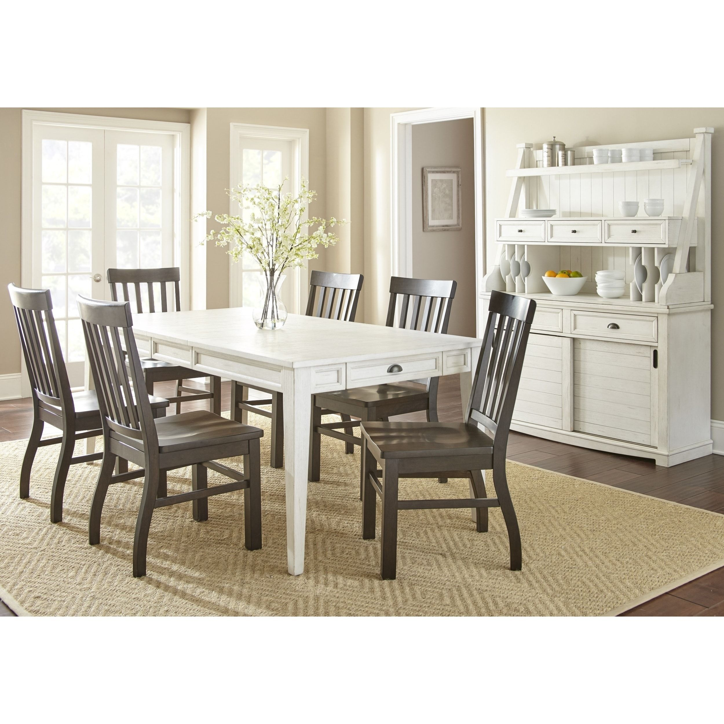 Cottonville Antique White Farmhouse Dining Set With Chairs By Greyson  Living (Cottonville 7PC Set With