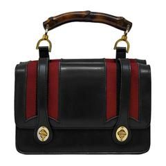 7dc2cf79200c 1960's Gucci Bamboo Top Handle Black Leather Handbag | BAGS ...