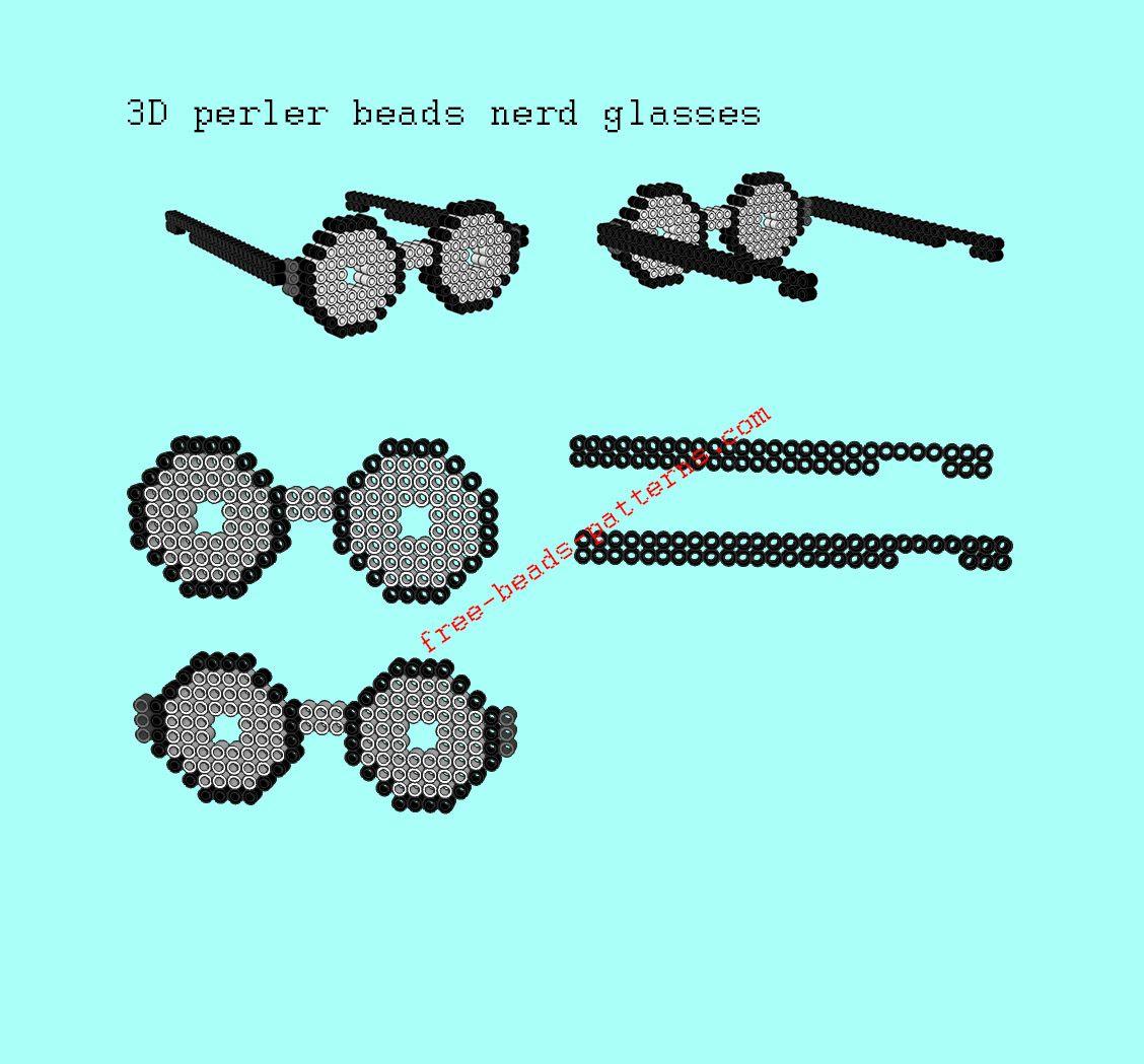 3D perler beads wearable nerd glasses free pattern design how to ...