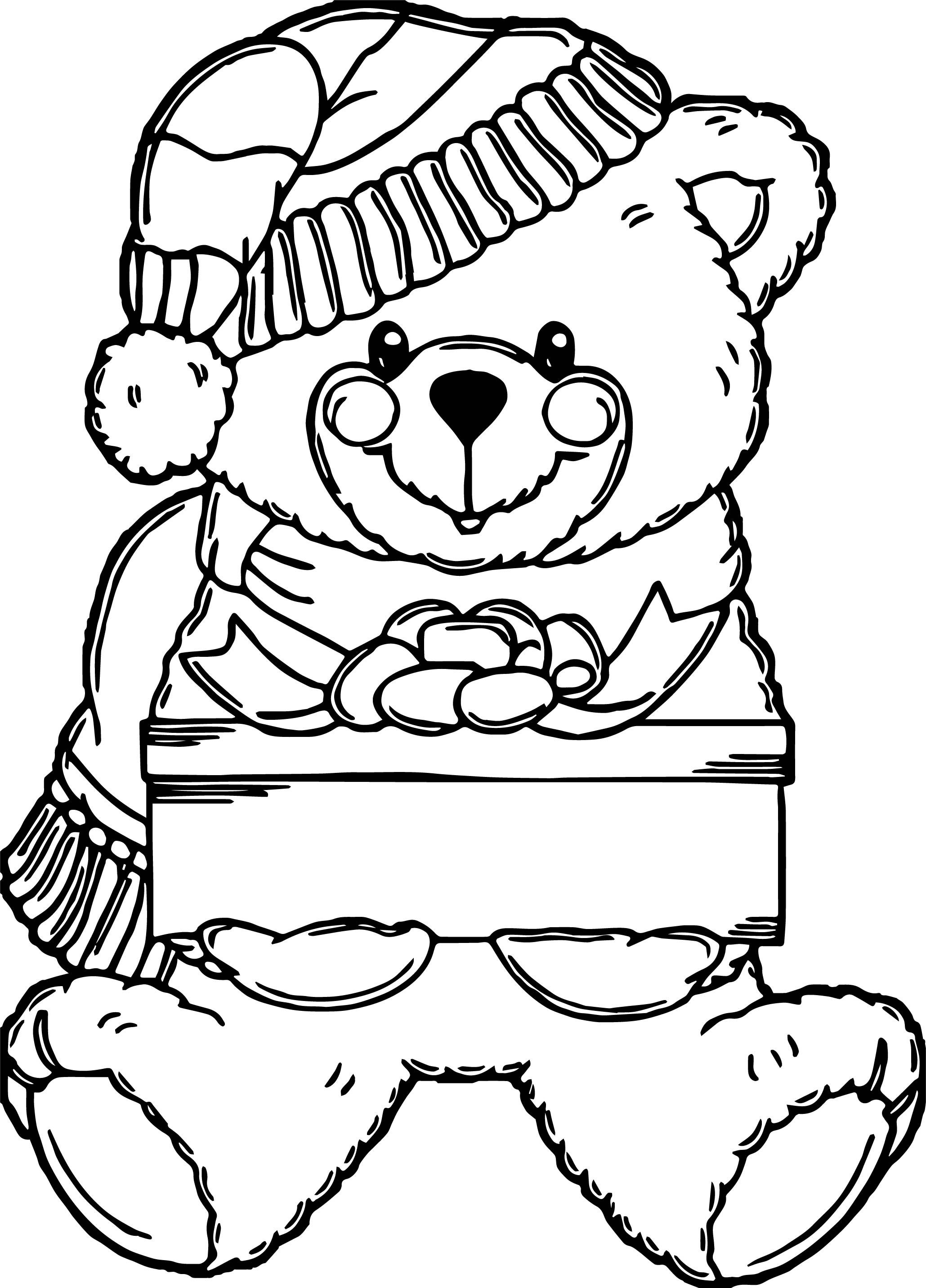 Nice Snow Boy Bear Toy Coloring Page