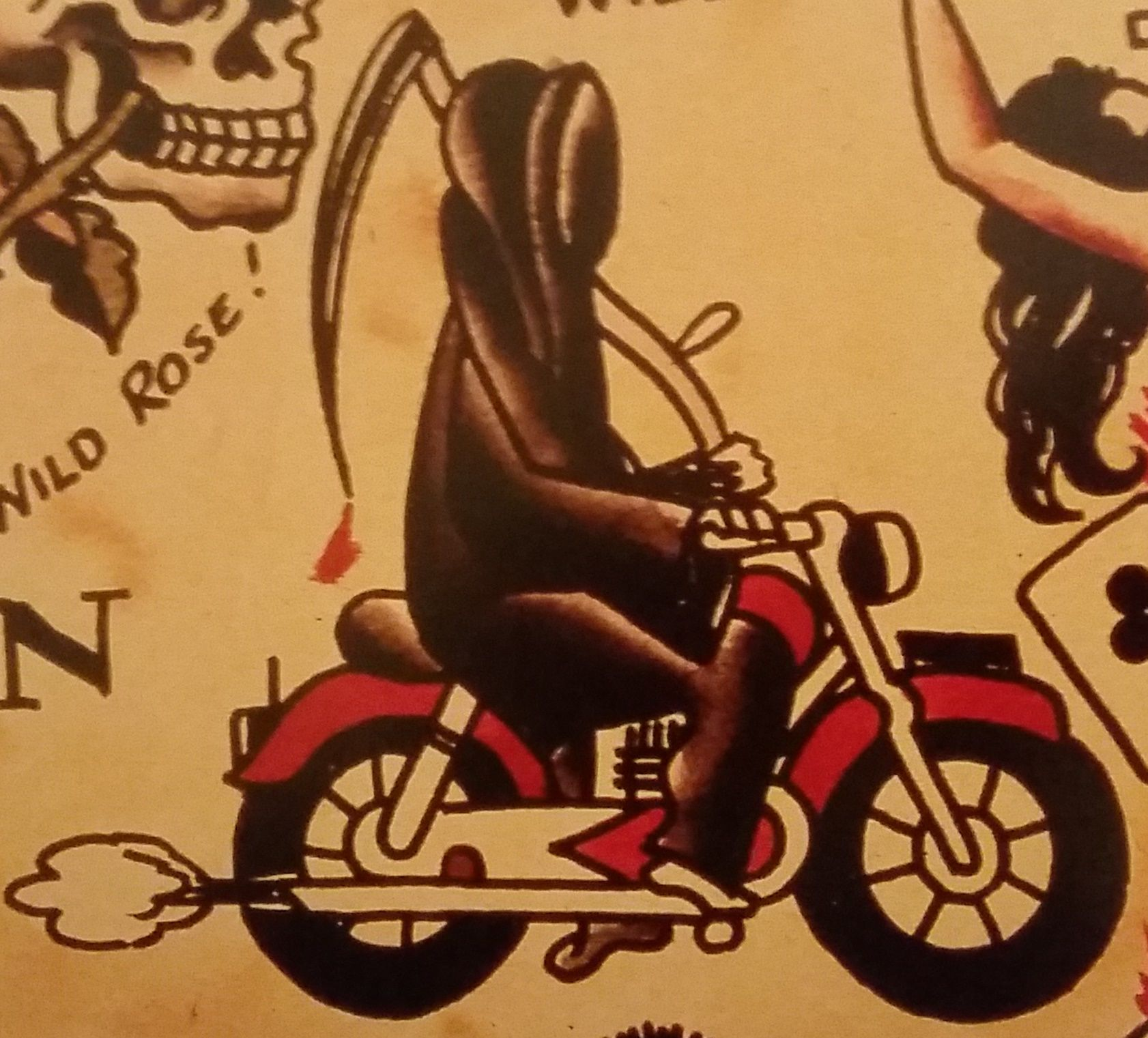 Motorcycle with biker tattoo - Traditional Old School Tattoo Sailor Jerry Grim Reaper Motorcycle