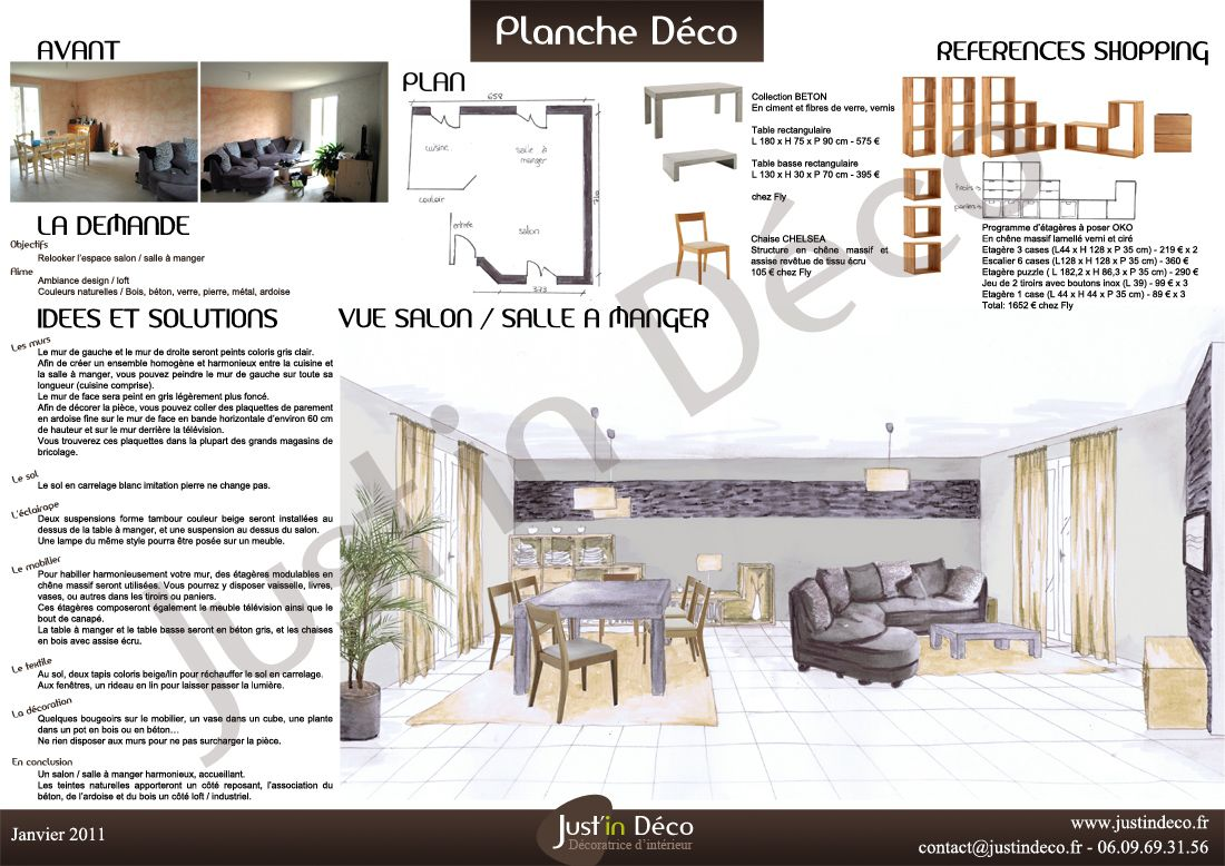 Planche Dco Salon Salle Manger Ambiance Design Loft Couleurs Naturelles