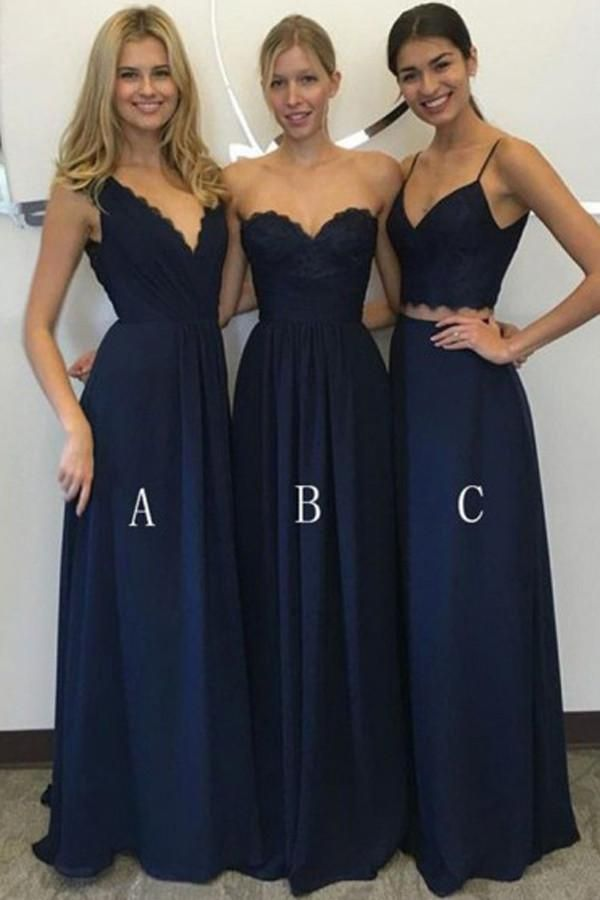33779561c02 Affordable Long Chiffon   Lace Corset Bridesmaid Dress with Ruched Lace  Bodice Navy