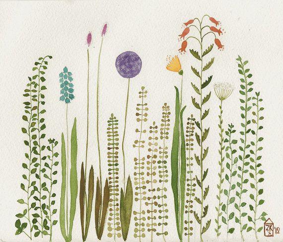 garden original watercolor herbier aquarelles et id es pour la maison. Black Bedroom Furniture Sets. Home Design Ideas