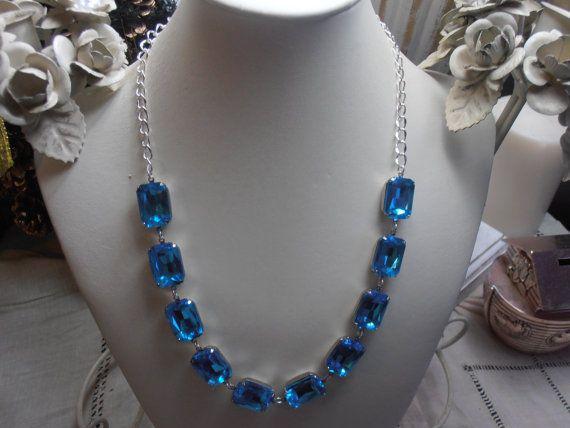 Aquamarine Austrian crystal Cabochon by ParisiJewelryDesigns, $75.00