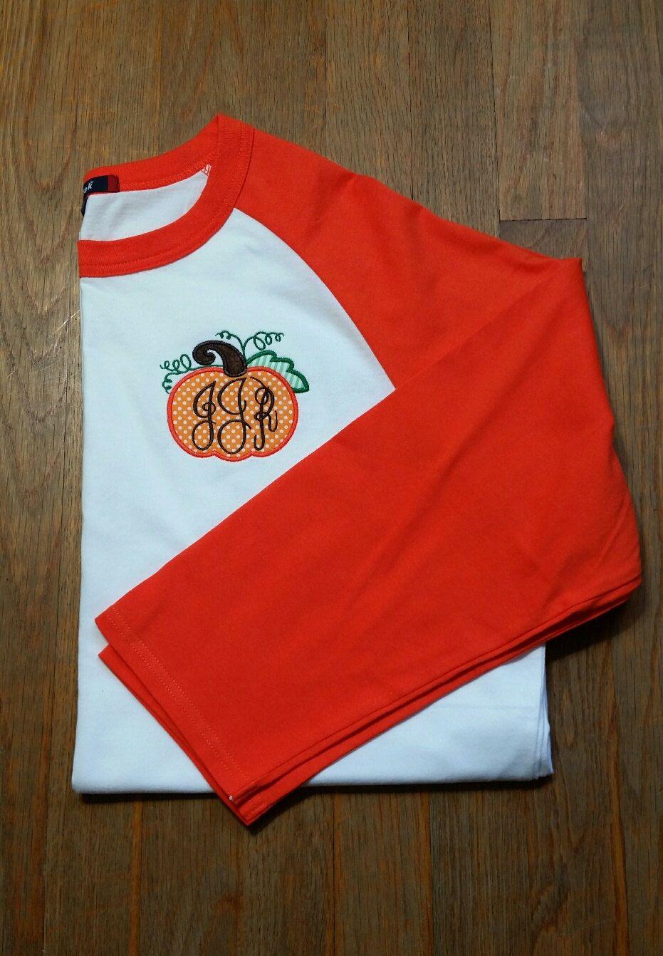Monogram Pumpkin Shirt-Monogram Pumpkin Raglan Shirt-Fall Shirt-Pumpkin…