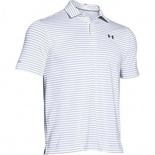 Men Golf Clothing - Under Armour Mens Coldblack Address Stripe Polo White  100 Stealth Gray XXLarge  mensgolfclothes 85f8ac9e1c4b6