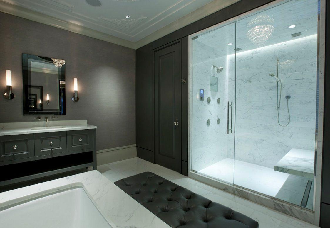 Bathroom, Comfy Black Tufted Bedroom Bench Near White Tub Also ...