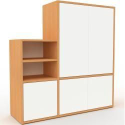 Photo of Regalsystem Buche – Flexibles Regalsystem: Türen in Weiß – Hochwertige Materialien – 116 x 118 x 35