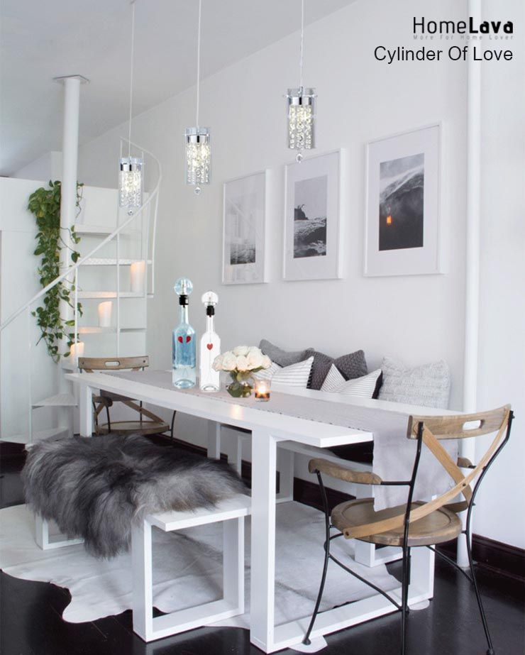 3 Light Kitchen Island Pendant Light Glass Cylinder Apartment