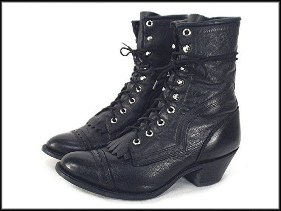 e961a9a81d5a5 80's 90's vintage BLACK leather lace-up ankle oxford granny boots ...