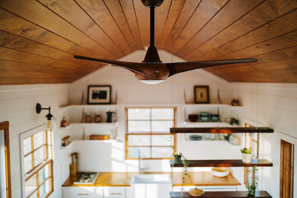 The Monocle By Wind River Tiny Homes Modern Ceiling Fan Suspended Cable Shelving