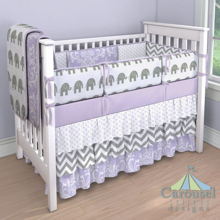 Lilac And Gray Crib Bedding Solid Osborne Damask White