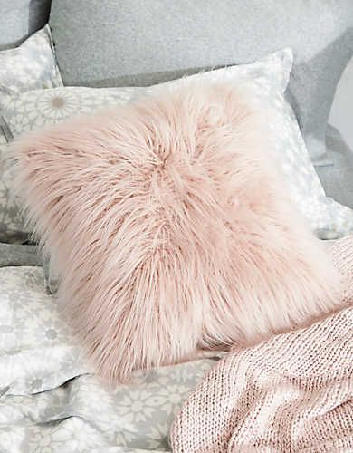 Dormify Faux Lamb Fur Pillow Rose Aerie For American Eagle