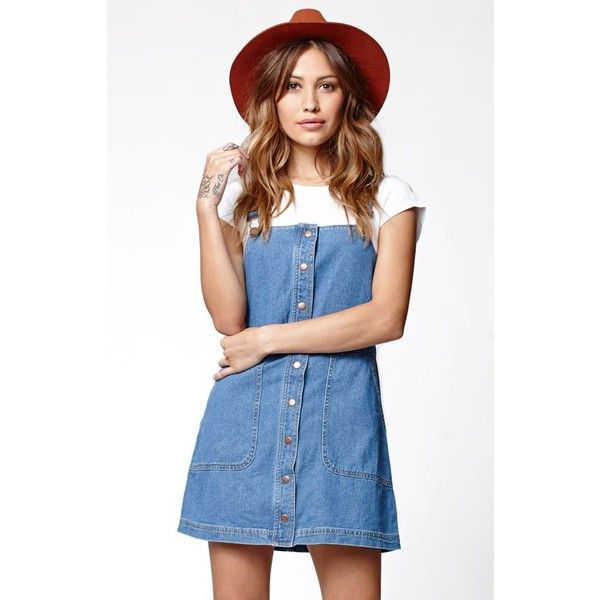 Bullhead Denim Co. Button Front Overall Dress ($40) ❤ liked on Polyvore featuring dresses, blue cotton dress, button front dress, cotton dress and blue dress