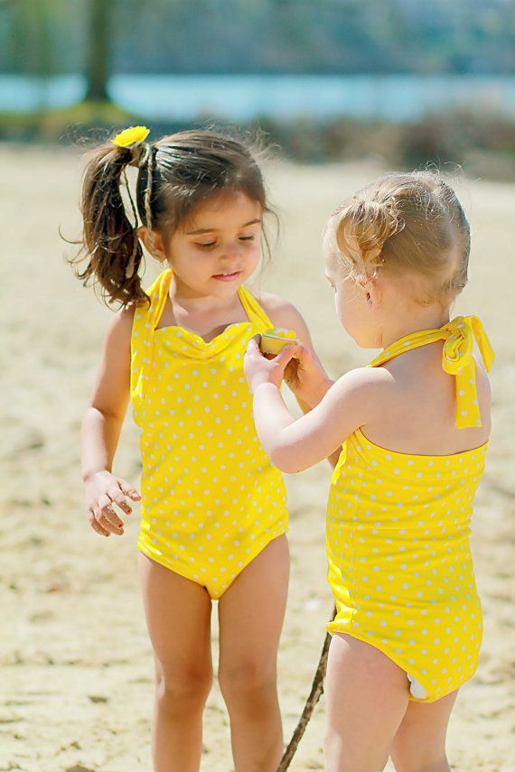 1f97a343fd36e Yellow and white polka dot Retro one piece little girls swimsuit made to  order sizes 2-12 via Etsy
