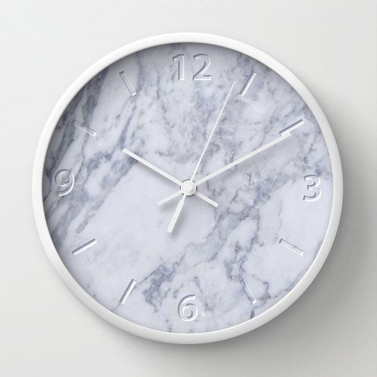 White Marble Effect Wall Clock Architect Clock Interior Etsy White Clocks Marble Effect Wall Clock
