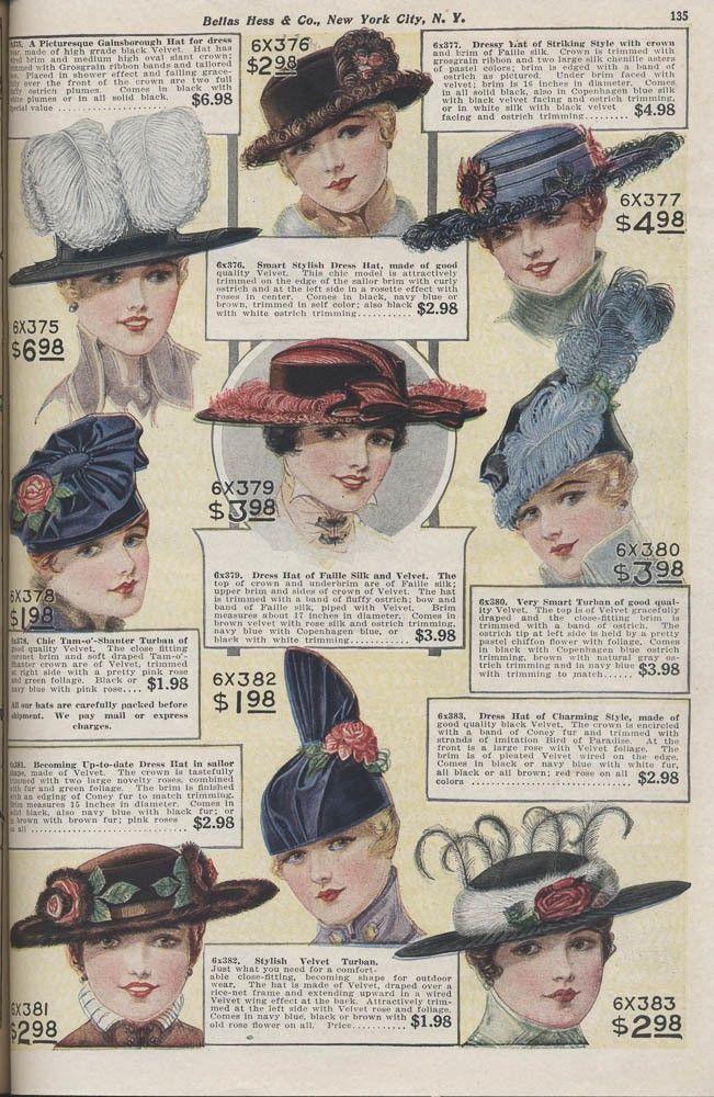 Bellas Hess & Co., New York, NY. Fall and Winter Catalogue No. 74, 1916-1917, page 135, hats. Via Smithsonian.