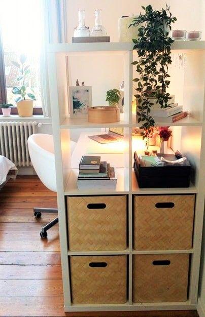 Use the Ikea Kallax shelf to create a private, cosy desk area!  desklife ikeakallax loveforplants
