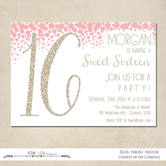 Birthday Invitation Sweet 16 Digital Glitter Modern Style Simple Customized Diy Sweet 16 Party Invitations Sweet 16 Sleepover Birthday Invitations