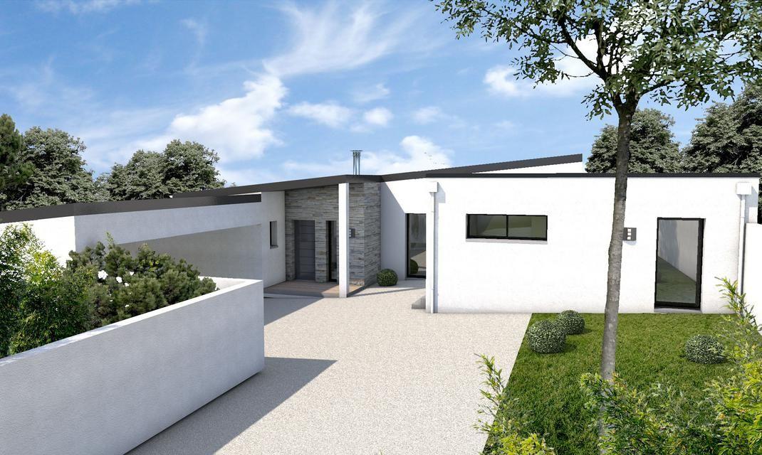 Maison moderne s jour d plafonn auray en 2018 maison pinterest maison maison moderne et - Maison plain pied toit monopente ...