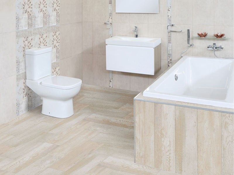 Lime wash wood floor tile ctm beautifully beige for Warm feel bathroom floor tiles