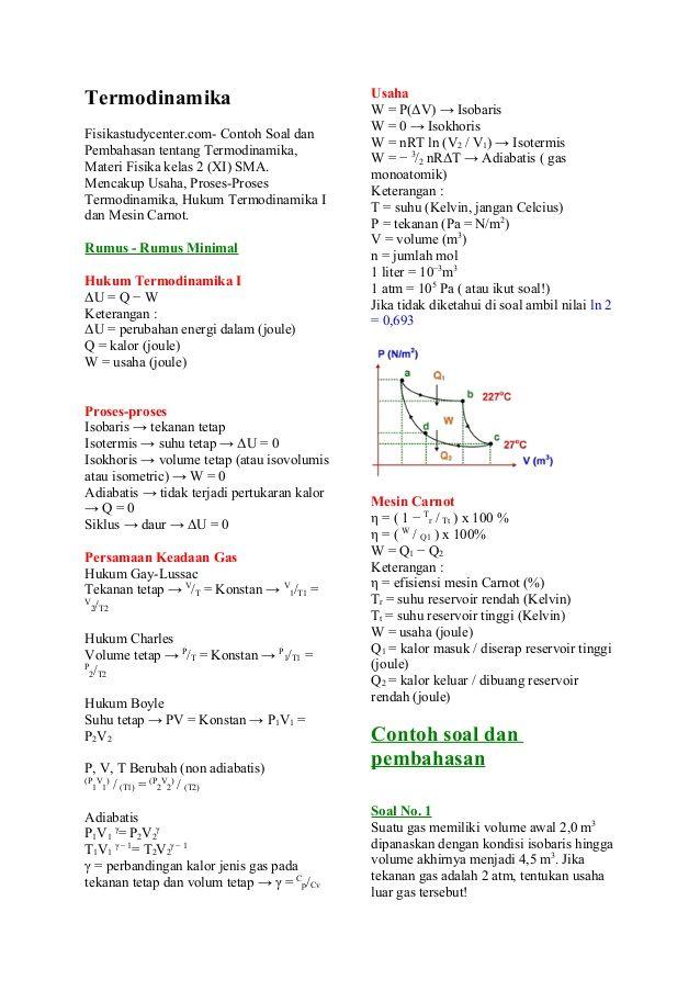 Termodinamika Fisikastudycenter Com Contoh Soal Dan Pembahasan Tentang Termodinamika Materi Fisika Kelas 2 Xi Sma Men Trending Topics Dan Bullet Journal