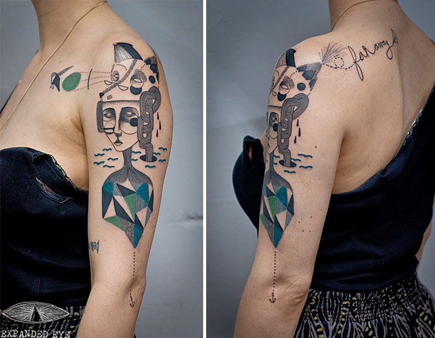 Line Art Tattoos : Artist duo creates surreal cubist tattoos based on clients' stories