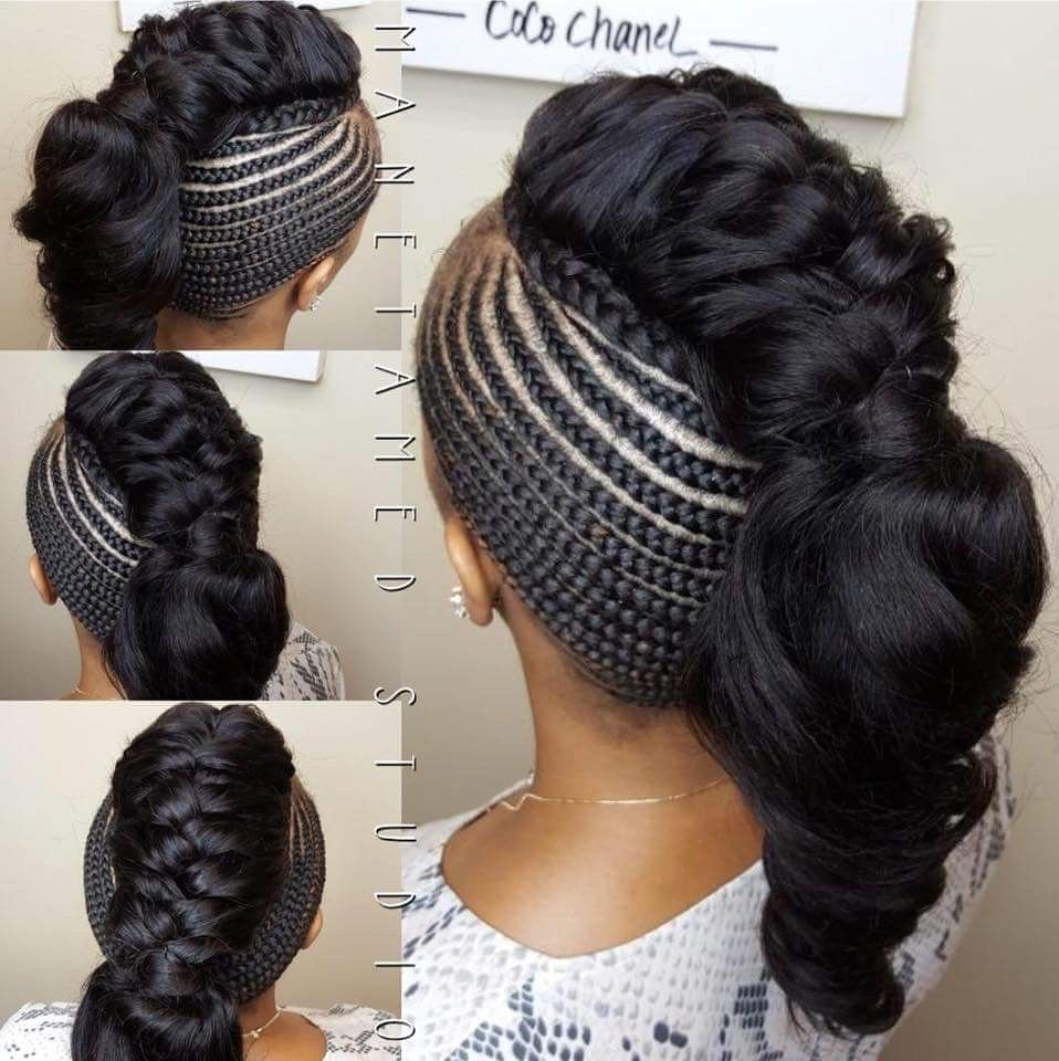 Feed in braids braids and sew in deep wave hair fluffy braid