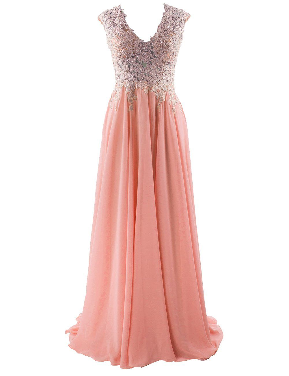 592a8d4fd7f2 Womens Long Prom Dresses Lace Aline Evening Dress Chiffon Bridesmaid Gown  Sleeveless Peach US2     Continuously the product at the image link.